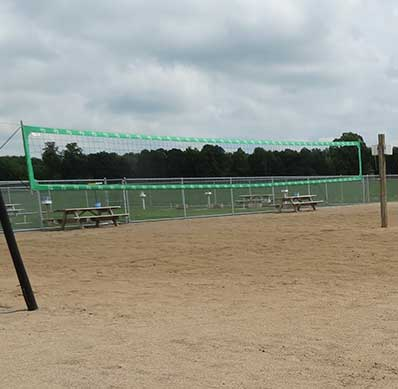 Sand volleyball courts outside Main Gate Bar & Grill in Little Falls, MN